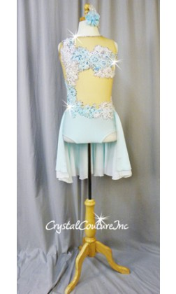 Lt Blue Leotard with Embroidered Appliques and Back Chiffon Skirt - Swarovski Rhinestones