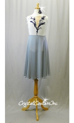 Silver/Gray Leotard with Chiffon Skirt and with Navy Applique - Swarovski Rhinestones