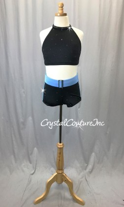 Black with Blue Crop Top and Boy Shorts - Swarovski Rhinestones