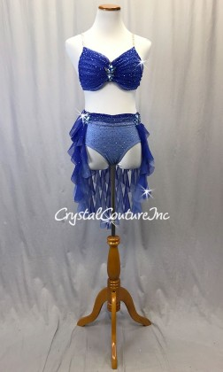 Blue Ombre 2pc Bra-Top with Brief/Tendril Skirt - Swarovski Rhinestones