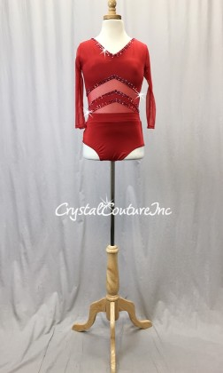 Red Lycra and Sheer Mesh Leotard with Diagonal Insets - Swarovski Rhinestones - Size AS