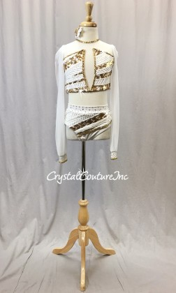 White Lycra/Mesh 2-Piece Crop Top and Trunks with White/Gold Sequin Trim - Swarovski Rhinestones - Size YL