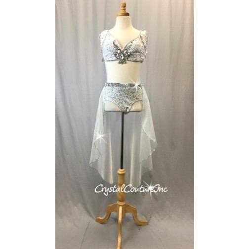 f3bc91067389b White Floral Lace Top and Trunks Half Skirt - Swarovski Rhinestones - Size  AXS